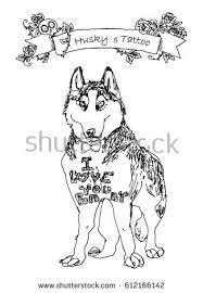 vector conceptual illustration tattooed husky stock vector