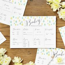 baby shower prediction cards pack of eight by intwine design