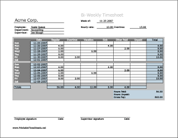 Bi Weekly Timesheet Template Excel Biweekly Timesheet Horizontal Orientation Work Hours Entered
