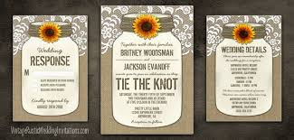jar wedding programs sunflower wedding invitations vintage rustic wedding invitations