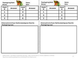 thanksgiving math activities counting money task card 2nd grade
