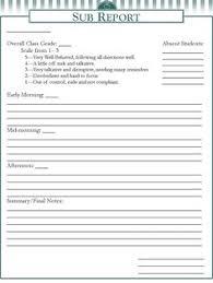 free substitute teacher report template substitute teacher