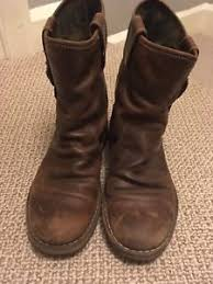 s boots calf length brown leather fly s boots size 39 6 buckle mid calf