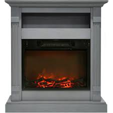 sienna 34 in electric fireplace w 1500w log insert and gray