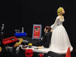 mechanic cake topper and groom golf wedding cake topper