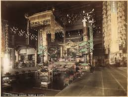 Japanese Temple Interior Chioin Temple Kioto 2 Large Tinted Albumen Photos 1880s From