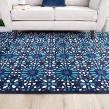 contemporary blue mosiac geometric living room rug tangier kukoon