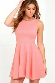 pink dress coral pink dress skater dress backless dress 49 00
