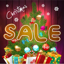 sale poster with gift and baubles vector vector