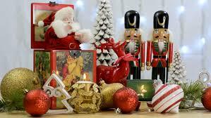 festive ornaments with nutcrackers and vintage santa
