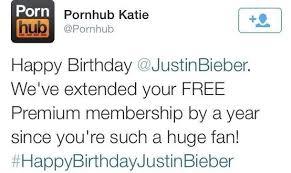 Justin Bieber Birthday Meme - pornhub wishing justin bieber a happy birthday meme guy