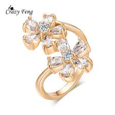 flower style rings images High quality large size 9mm yellow gold color women rings double jpg