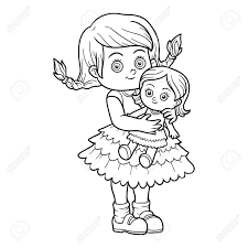 Livre à Colorier Pour Les Enfants Petite Fille Avec Une Poupée Clip