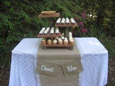 rustic wedding decoration cupcake stand tree slice woodland