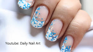 easy snow nail art snowflake nails winter snow nail design let
