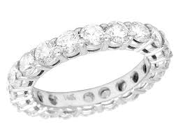 3mm diamond 14k white gold genuine diamond solitaire eternity wedding band