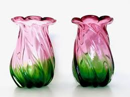 Vintage Hand Blown Glass Vases Vintage Murano Glass Vases Set Of 2 For Sale At Pamono