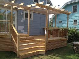 inside corner steps cedar decking u0026 trellis with a built in bar