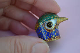 vintage cloisonne bird head thimble multi coloured pheasant enamel