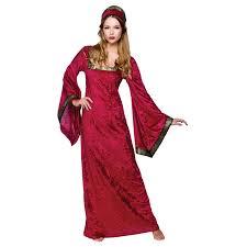 Historical Halloween Costume Womens Maroon Medieval Princess Historical Halloween Fancy Dress