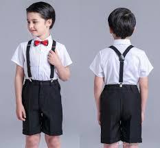 shirt suspenders wedding suits bow tie todder boys gentleman