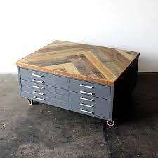 repurpose metal file cabinet repurposed coffee table reclaimed wood herringbone vintage