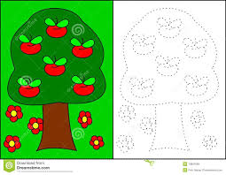 coloring book apple tree royalty free stock images image 13891669