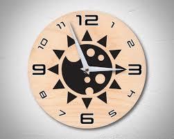 space sun personalised retro futuristic wooden wall clock