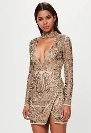 embellished dress peace bronze choker neck embellished wrap dress missguided