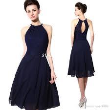 2015 cheap short party dresses navy blue lace halter open back a