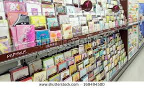blurred greeting cards display store stock photo 381833890