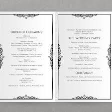 Downloadable Wedding Program Templates Foldover Wedding Program Template Natalia Black