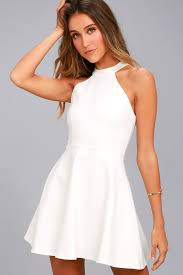white dress chic white dress skater dress lace dress halter dress
