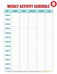daily weekly schedule template top 25 best daily schedule