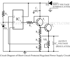 sort circuit protected regulated power supply using 741 best