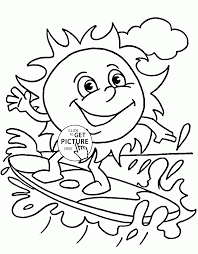 funny summer sun coloring page for kids seasons coloring pages