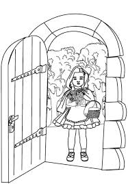 red riding hood open grandma house door coloring pages batch