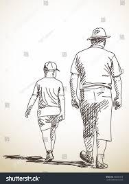 sketch walking man boy hand drawn stock vector 356696333