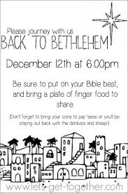 Invitation Card For Get Together Back To Bethlehem Night