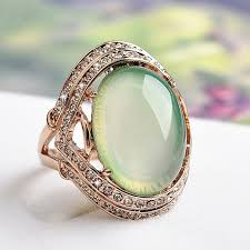 rings with stones images Natural green stone wedding rings for women zircon jewelry rose jpg