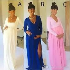 baby shower dress modern maternity evening dresses with side slit v neck
