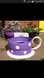 teacup planters made from old tires hometalk