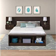 diy headboards for king size beds king size floating headboard with nightstands in espresso floating