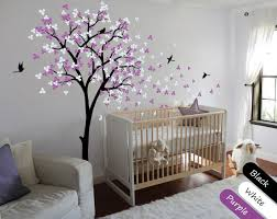 Purple Wall Decals For Nursery Blossom Black Tree Birds Wall Stickers Vinyl Decal Nursery Baby