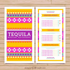 colorful mexican menu template with ethnic ornaments vector free