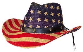 Cowboys Flag Tropic Hats Mens Patriotic U S Flag Cowboy Hat W Metal Stars On Band