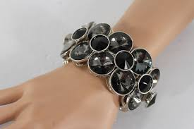 bracelet elastic silver images Silver metal bangle elastic bracelet black gray circle stones new JPG