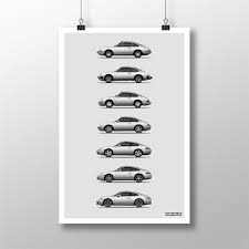porsche 911 poster 911 generations print unrivaled