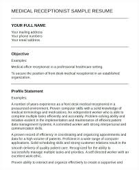 resume resume cover letter template free medical receptionist 5