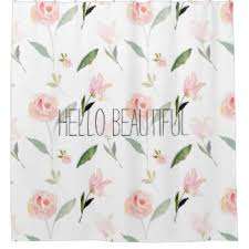 Pink Flower Curtains Pink Watercolor Floral Shower Curtains Zazzle